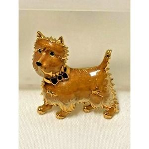Scotty Enameled Dog Brooch Marked CT - Tan